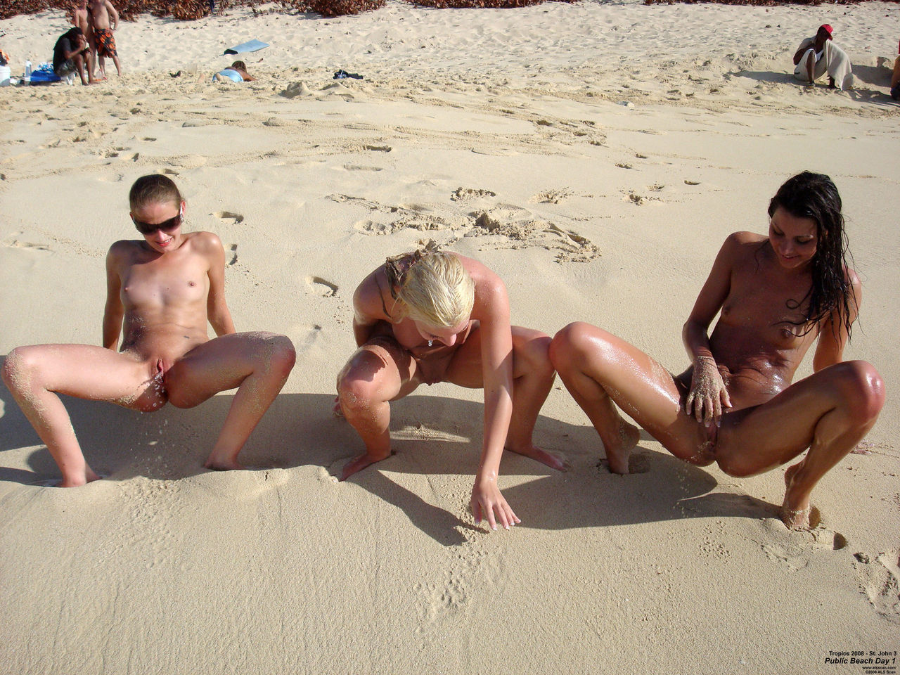 pissing on the nude beach